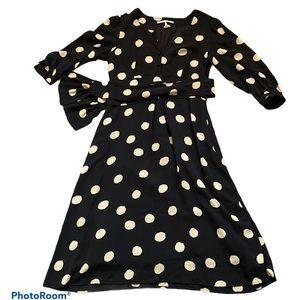 Sandra Angelozzi black polka dot midi dress sz 38